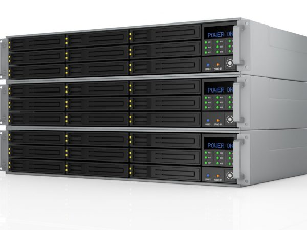 16644379 – one pile of three server racks with nine hd slots, powered on (3d render)