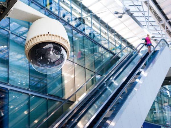 cctv camera or surveillance operating on escalator