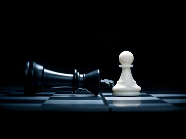 chessmen. a pawn and the won king