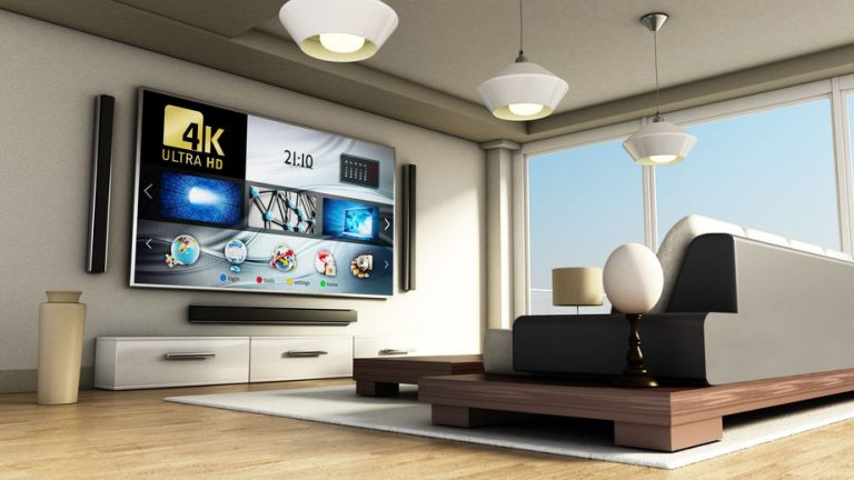 Modern 4K smart TV room with large windows and parquet floor. 3D illustration.