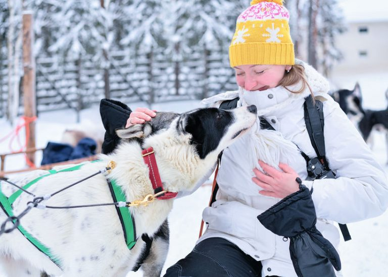 Girl and Husky dog, Rovaniemi, winter Finnish forest of Lapland
